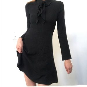 Sandro black lined dress with bow